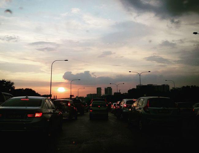Car Cloud - Sky No People Outdoors Sky City Sunset Day Traffic Jam