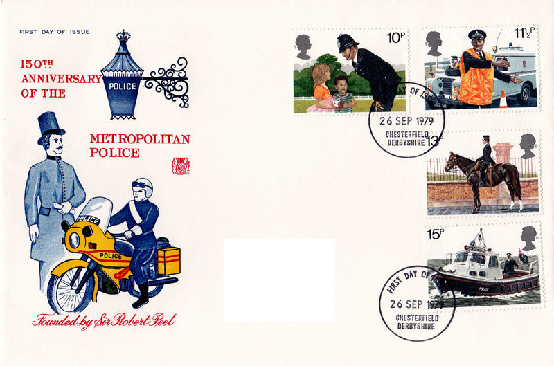 Day Text White Background No People Police Motorcycle River Police London Police Sir Robert Peel Commemorative Stamps First Day Covers 150th Anniversary Of The Police 1829 - 1979 Metropolitan Police Force