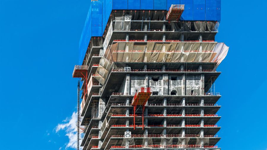 Low angle view of building during construction