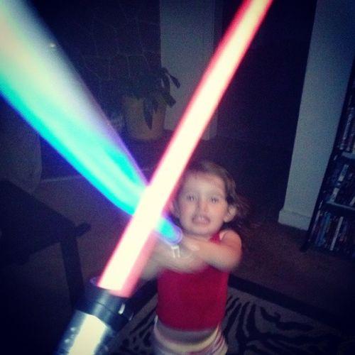 Light saber battle with his last night alwAys fun Star warsEpic Battles Daddynerd daughterfun love