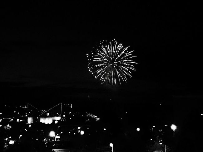 Night Exploding Firework Display No People Sky Digital Manipulation Celebration Artistic Expression Black And White Photography Black & White Outdoors