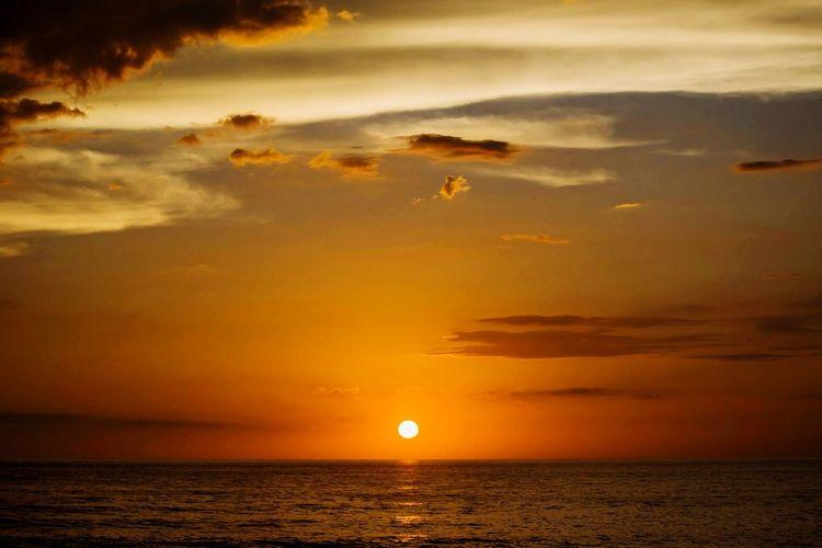 Sun Over Pacific Water Sea Sunset Nautical Vessel Horizon Beach Awe Gold Colored Silhouette Wave Seascape Romantic Sky Coastal Feature Cloudscape Dramatic Sky Coastline