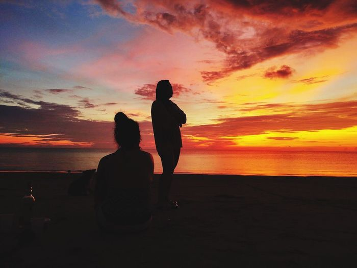 Sunset with sissy Sunset Sky Orange Color Two People Silhouette Women Real People