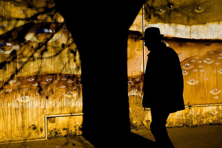 Silhouette people walking in illuminated city at night