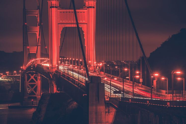Golden gate bridge against sky at night
