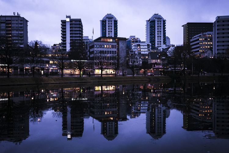 Stavanger Architecture Building Exterior Built Structure City Cityscape Day Illuminated Modern Nature No People Outdoors Reflecting Pool Reflection Sky Skyscraper Symmetry Travel Destinations Water Waterfront