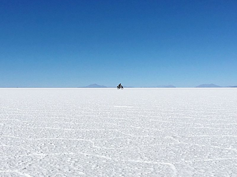 Crazy Guy From Uruguay Riding With His Bike Through The Desert Salardeuyuni Extreme Sport Bike Riding Lonely In