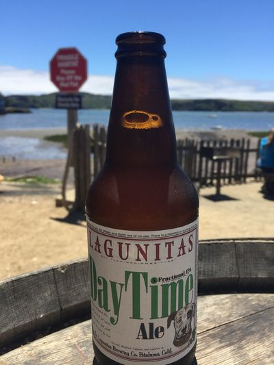Appetizer. California Oyster Farm Beer Lagunitas Day Focus On Foreground Close-up Bottle Sea Water Sky Beach Sunlight