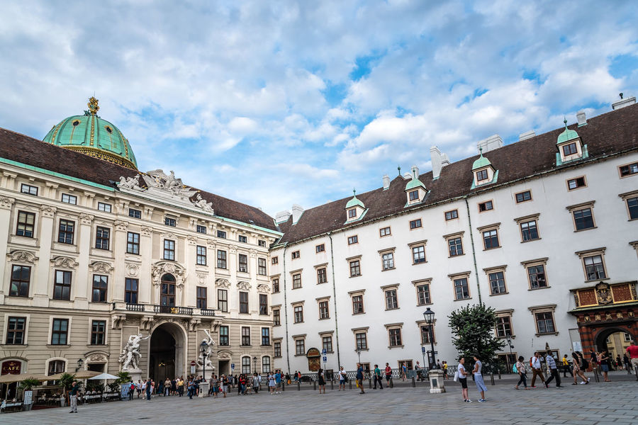 Courtyard in Hofburg Palace in Vienna Classic Hofburg Imperial Travel Architecture Building Exterior Built Structure City Cloud - Sky Courtyard  Day History Hofburgpalace Landmark Large Group Of People Outdoors Palace People Real People Sisi Sky Tourism Travel Destinations Treasury Wien