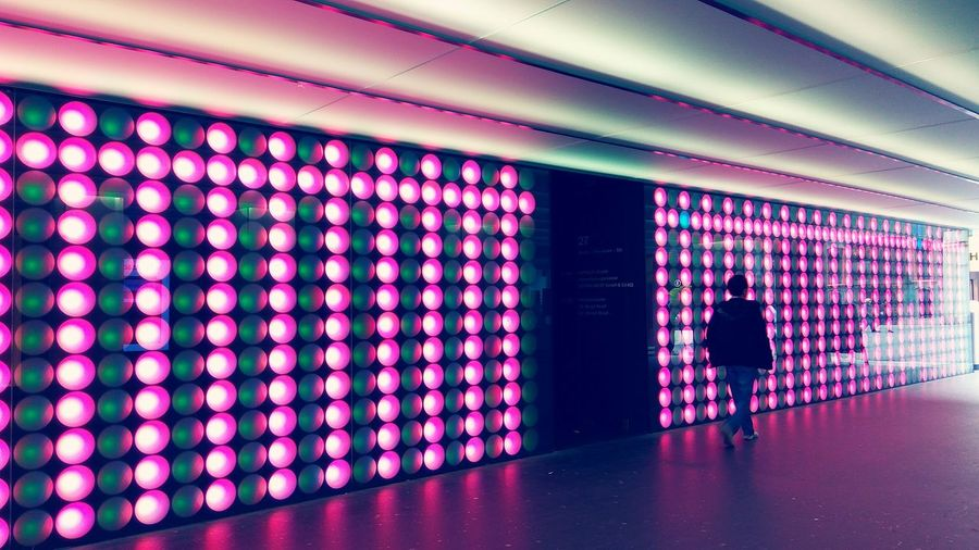 Innsbruck Light Bulbs Light Bulbs Pattern Pink Pink Color Ceiling Tunnel Neon Pixelated Illuminated Walkway Pattern Art Is Everywhere