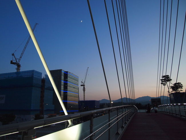 Pedestrian Overpass Cityscape Crescent Moon Lines And Shapes New Moon Nightview Sturcture Sunset Urbanphotography