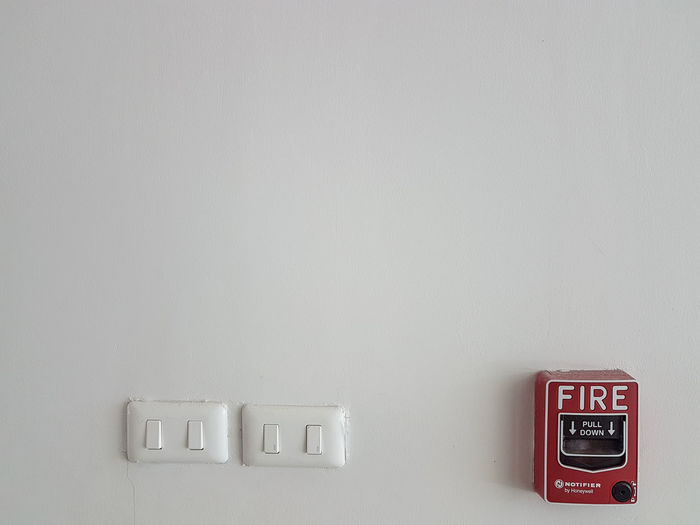 Security Wall Building Feature Wall Technology Copy Space Switch White Background Safety Protection Close-up Fire Alarm Warning