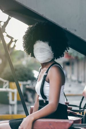 No face portrait Africa Street EyeEm EyeEm Best Shots Fresh On Market 2018 Portrait Abstract One Woman Only Only Women One Person Day One Young Woman Only People Adult Sitting Outdoors Young Women