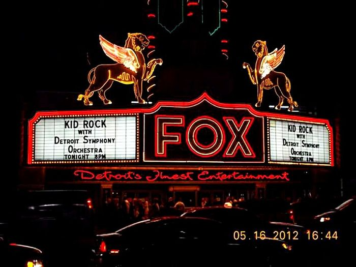 Illuminated Neon Night City DetroitMichigan Foxtheater Woodward Avenue Concert Symphony DSO