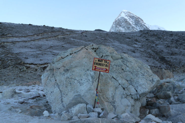 To Everest Base Camp Communication Day Direction Everest Base Camp Gorak Shep Guidance Himalayas Mountain Nature Nepal No People Outdoors Rock - Object Rock Formation Route Sign Sky Text The Great Outdoors - 2017 EyeEm Awards Warning