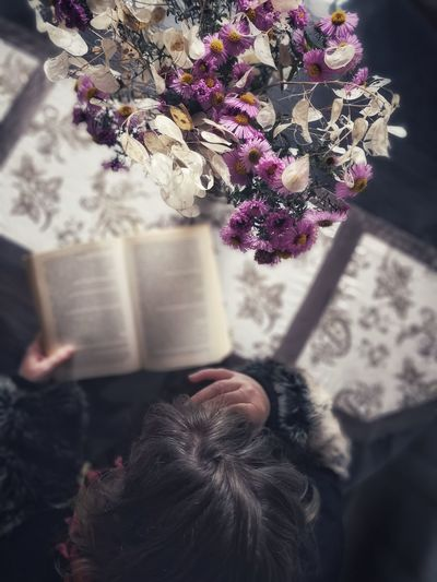 Woman reading a book at moody atmosphere Aster Flower Woman Top View High Angle View HEAD Flowers At Home Interior Human Hand Warm Clothing Flower Winter Holding Book Close-up