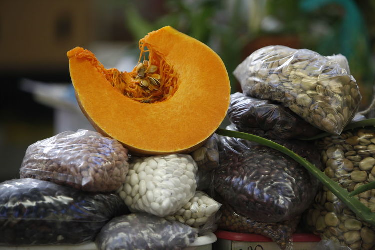 Pumpkin on packed seeds for sale at market