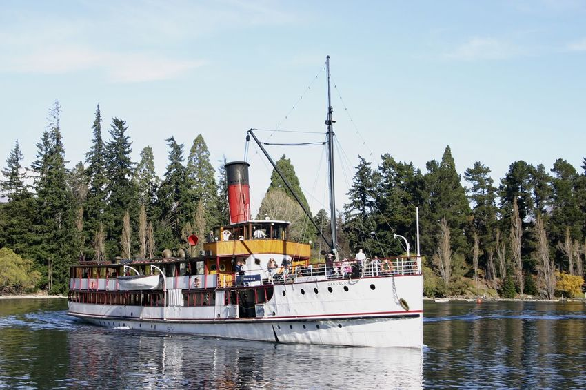T.S.S Earnslaw, a steamship c1912 on Lake Wakatipu, Queenstown New Zealand Beauty In Nature Boat Day Lake Lake Wakatipu Mode Of Transport Nature Nautical Vessel No People Outdoors Sailing Sky Steamship T.S.S Earnslaw Transportation Travel Travel Destinations Tree Water Waterfront