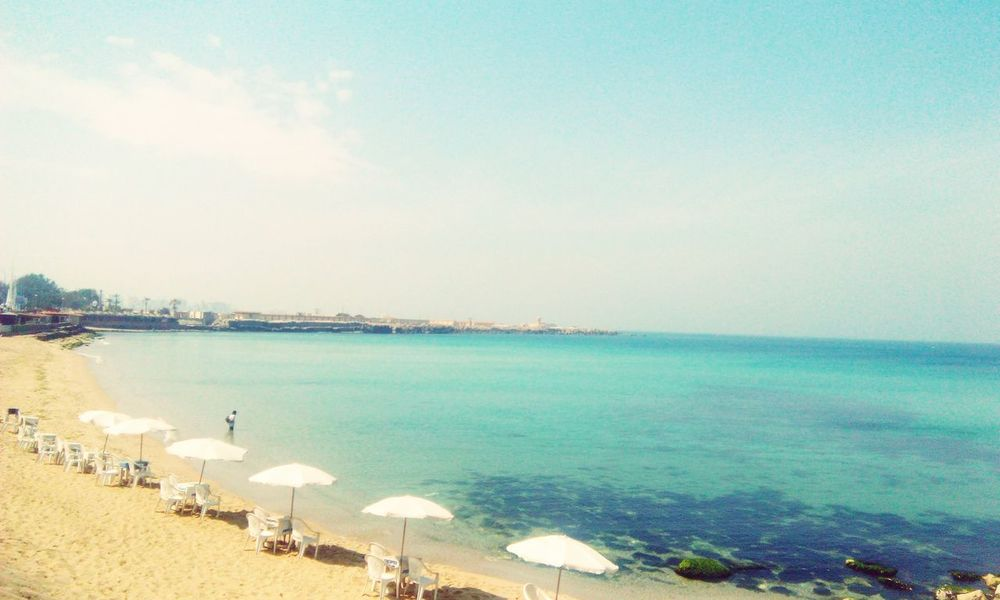 Water Sea Sky Tranquility Travel Destinations Nature Rocks In Water Rocks And Sea Clear Sky Day Outdoors Scenics Beach Beauty In Nature One Person Beauty Blue Blue Sky Sea And Sky Seascape Photography Best EyeEm Shot Alexandria Egypt The Week On EyeEm