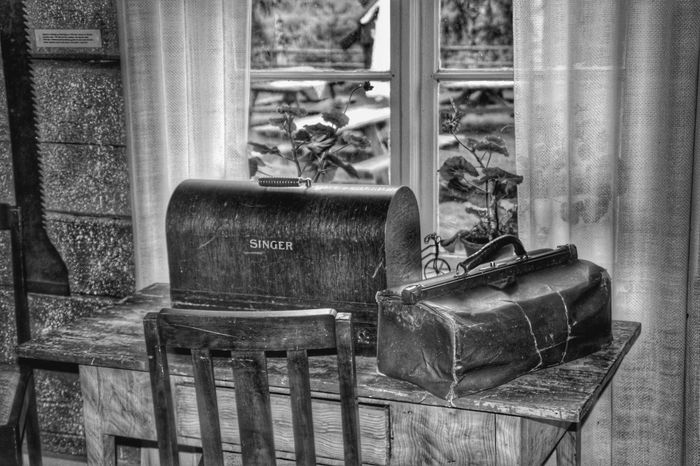 Shades Of Grey Black And White Indoors  Doctors Bag Nostalgia Vintage Window Bench Sawing Machine
