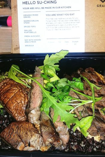 Organic Mixed Grains Seared Sirloin Steak Spicy Tofu Grilled Portobello Fresh Avocado Soy with Wasabi and Citron Arugula from a company called Grain Food Foodphotography Healthy Food Foodpics My healthiest meal this year.