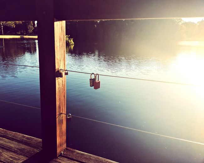 summer love Water Memories Love Momento Jetty Beauty In Nature Peaceful No People Lake Summer EyeEm Selects Water Sunset Sky Padlock Love Lock Hope Calm Tranquil Scene Idyllic Scenics Horizon Over Water