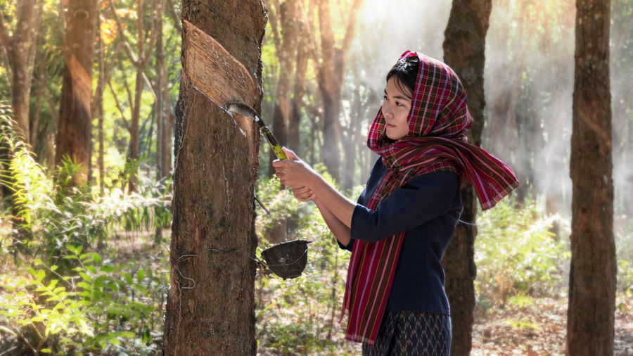 Side view of woman collecting latex while standing by tree trunk in forest