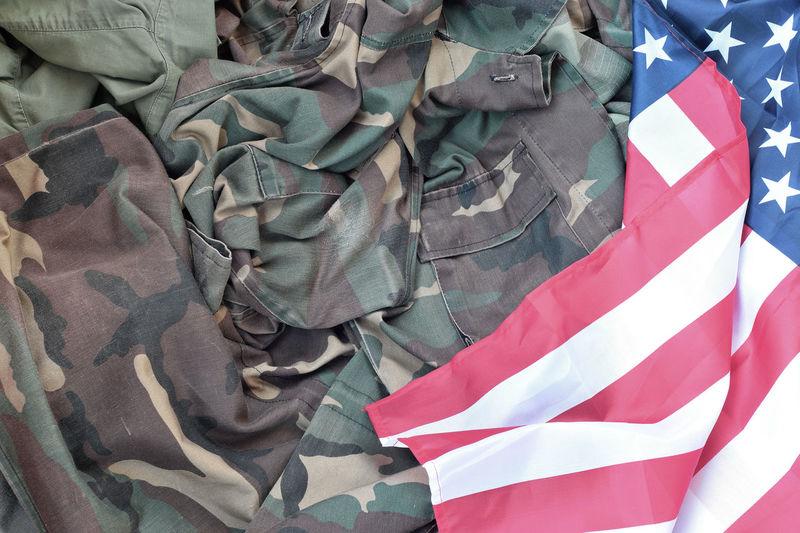High angle view of flag