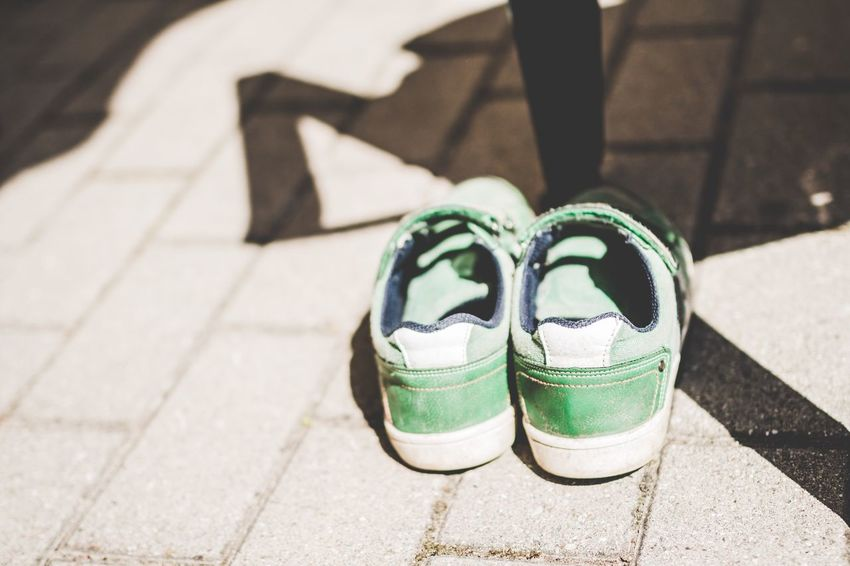 Boots Boots On The Ground Sneakers Green Color Light And Shadow Outdoor Photography Summertime Kids Boots Break The Mold