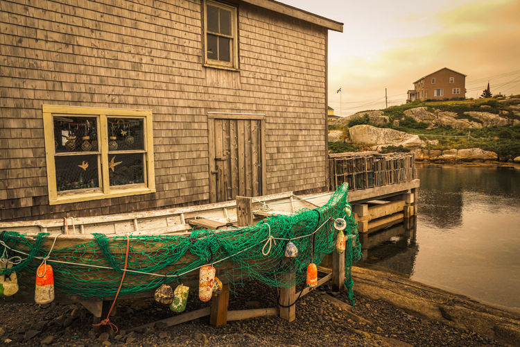 Architecture Building Exterior Built Structure City Day Fishing Boat Fishing Village No People Outdoors Peggy's Cove Peggys Cove Peggyscove Seaport Village Sky