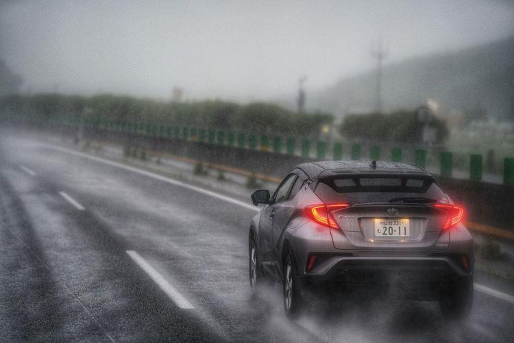 Car on road during rainy season