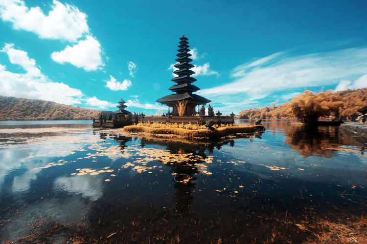 Ulun Danu Temple, Bali Travel Blue Day Tranquility Religion Travel Destinations Built Structure No People Reflection Nature Blue Sky Cloud Sky Water Temple Lake Ulun Danu Temple Bedugul Infrared Photo Infrared Infrared Photography EyeEmNewHere EyeEm Best Shots Eyem Gallery Scenics Lakeside Lakeshore Reflecting Pool Reflection Lake Tranquil Scene