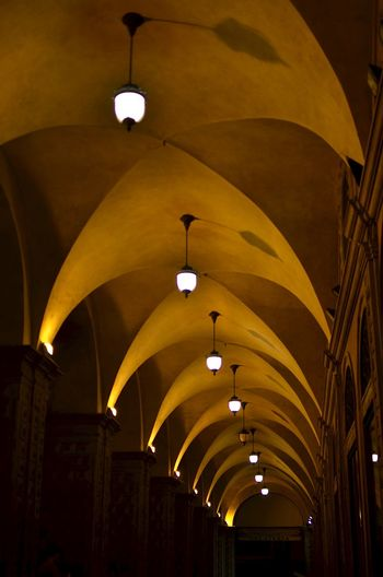 Illuminated pendant lights hanging from ribbed vault ceiling in church