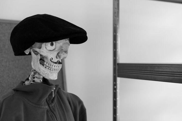 Close-up of human skeleton with flat cap