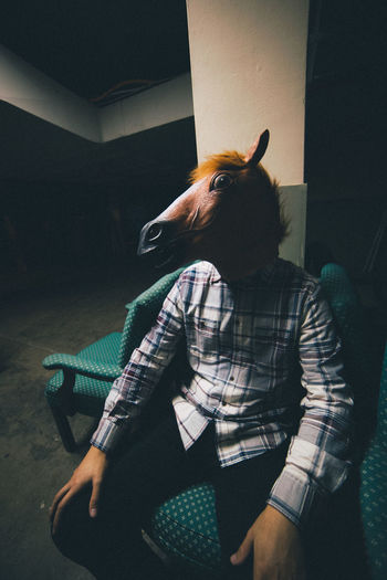 Bizarre Dark Horse Mask Spooky Surrealism
