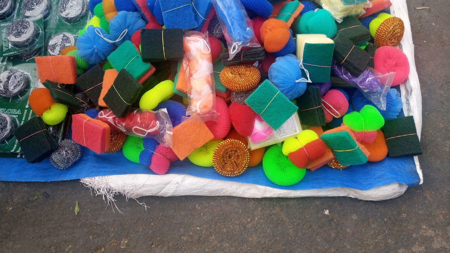 High Angle View Of Scouring Pads At Market