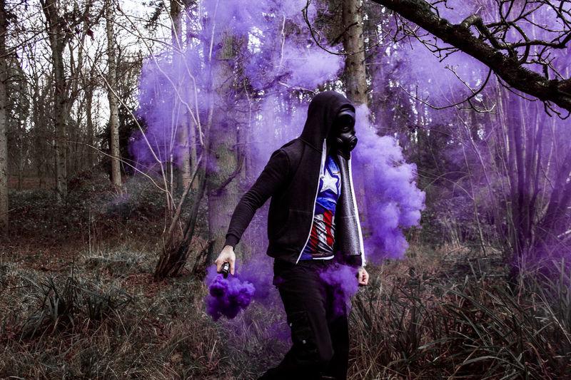 Photography Creepy Purple Colourful WoodLand Woods Smoke Granade Smoke Captain America No Filter Enolagaye