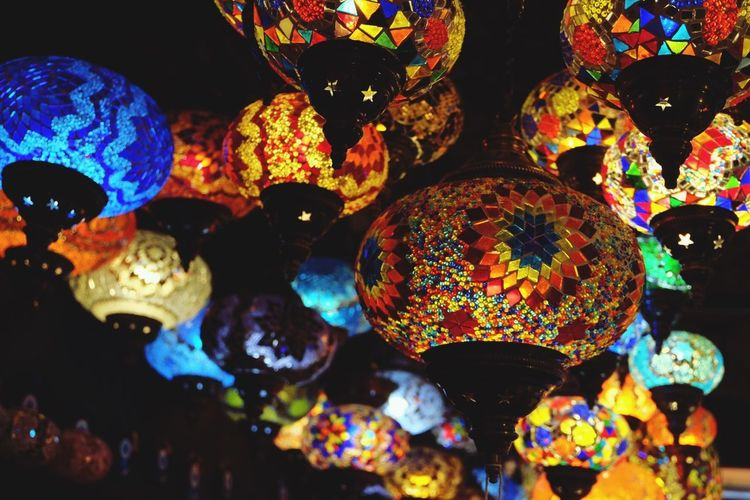 Camden Town Turkish Lamps Multi Colored Decoration Variation Hanging Lighting Equipment Large Group Of Objects Illuminated Indoors  Group Of Objects Lantern No People Low Angle View Night Close-up