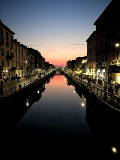 Reflection Travel Destinations Water Architecture Symmetry Sky City Built Structure Building Exterior Illuminated Night Outdoors No People Milano City Milan Milan,Italy Navigli Awesome Autumn City Life Europe Scenics Lombardy