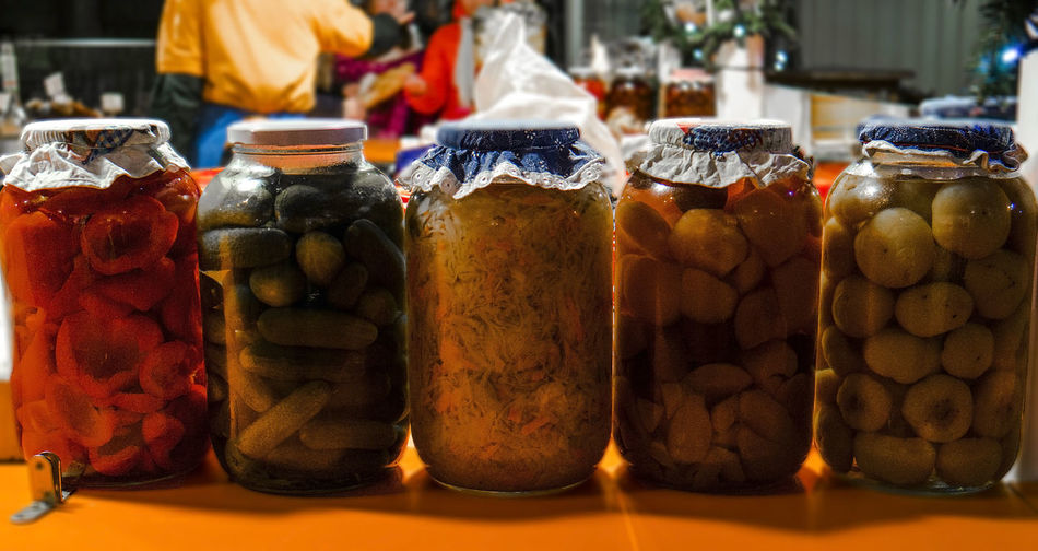 Variety of pickled jars for sale at store