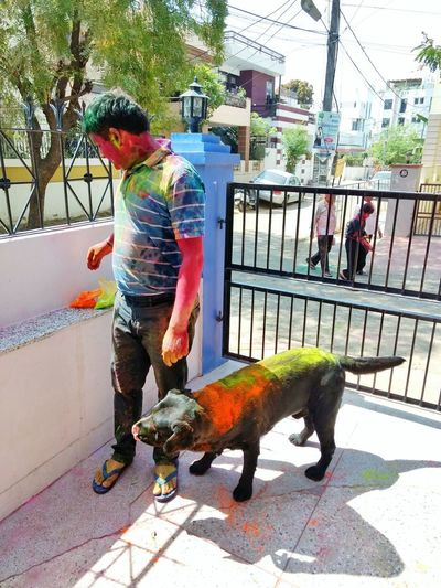 One Person Full Length Casual Clothing One Man Only Pet Adult Animal LabradorLove Color Of Festivals On Occasion Of Holi Festival In India Vibhanshu Pareek Photography The Week On EyeEm