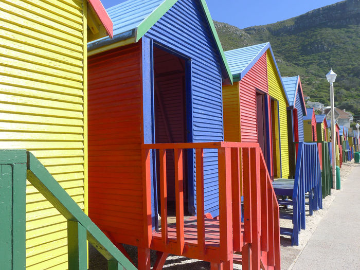 Nice fitting rooms at St. James Beach, near Cape Town Architecture Beach Built Structure Day Multi Colored Nature No People Outdoors Sand Sky St James Beach Sunlight