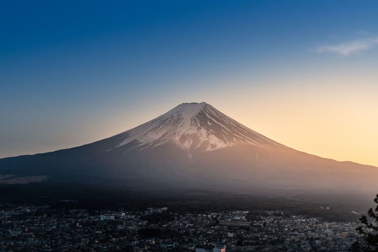 Mountain Sky Scenics - Nature Beauty In Nature Winter Volcano Cold Temperature Snow Environment Landscape No People Snowcapped Mountain Nature Architecture Tranquil Scene Mountain Peak Clear Sky Tranquility City Cityscape Outdoors
