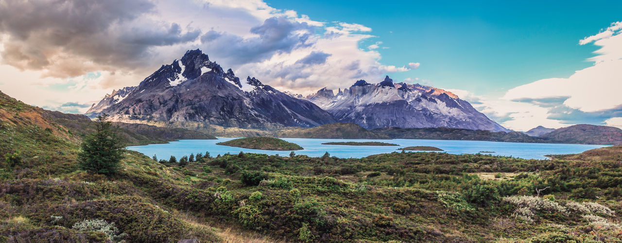 Sunset on Torres del Paine - Chile. View from pehoe lake Breathtaking Camping Chile Hiking Nature Tranquility Trees Trekking Wanderlust Adventure Beauty In Nature Cloud - Sky Cold Colorful Lake Landscape Mountains Patagonia Pehoé Rocks Snow South America Sunset Torres Del Paine Vegetation