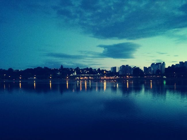 Water No People Illuminated Outdoors Sky Night Skycollection Best EyeEm Shot Lac Citylights City Skyline Reflections In The Water Reflection Lake Water Dramatic Sky Beauty In Nature Summertime Lake View EyeEm Best Shots - Landscape