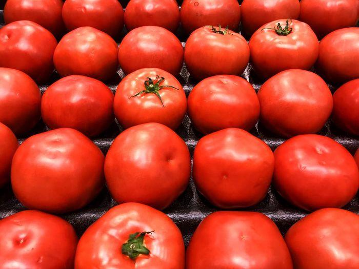 Full frame shot of tomatoes for sale at market