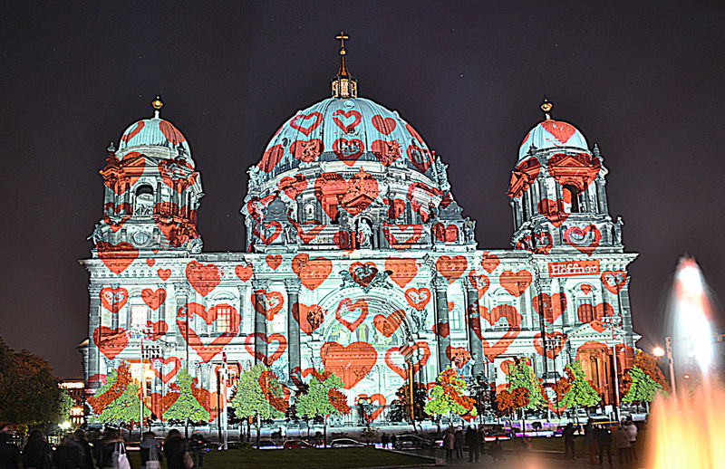 Architectural Feature Architecture Built Structure Capital Cities  Cathedral Cathedral Of Berlin City City Life Dome Façade Famous Place Festival Of Lights Great Event Illuminated Night Outdoors Place Of Worship Religion Spirituality Tourism Travel Destinations