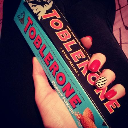 Swiss Chocolate Toblerone , Best Chocolate . The Best Gift Ever Delicious ♡ My Nails ❤ Red Nails Happy :)