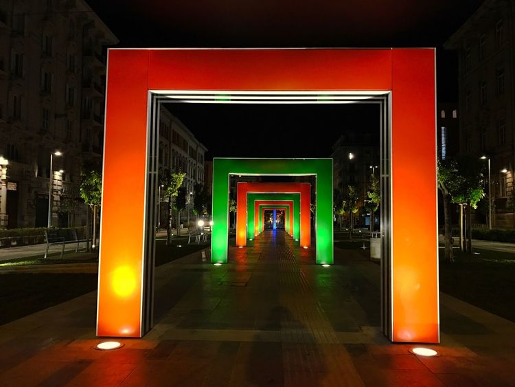 Architecture Night Outdoors Illuminated Building Exterior Built Structure City No People Laspezia Italy Spezia Piazza Verdi Minimalist Architecture