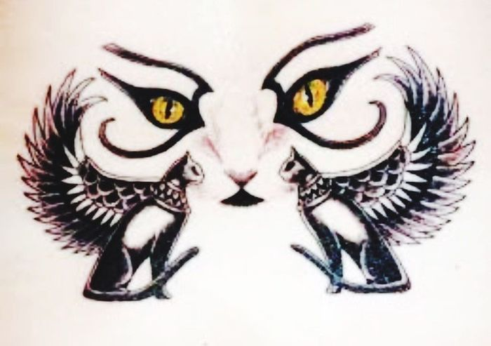 Cat Eyes Egyptiancat Hello World Worse Than A Disease No Pain, No Gain Tattoo
